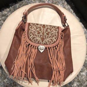 New Montana West Embroidered Fringe Concealed Hobo